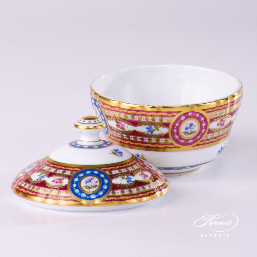 Sugar Basin w. Button Knob 3558-0-15 EGAVT Eglantine / Silk Brocade design. Herend fine china