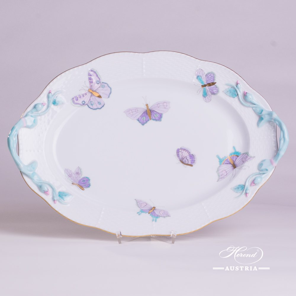 Oval Dish with Branch Handle 123-0-00 EVICTP2 Royal Garden Turquoise pattern - Herend porcelain hand painted.