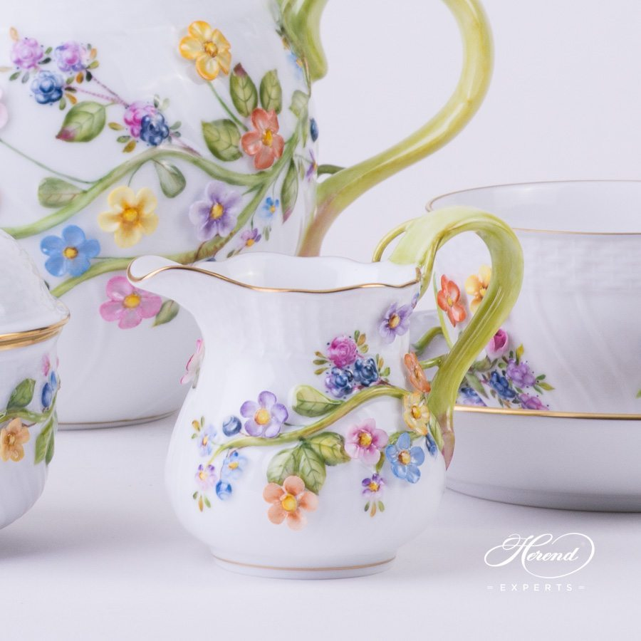 Tea Set for 2 Persons Relief Flowers CD multicolour pattern - Herend porcelain hand painted.