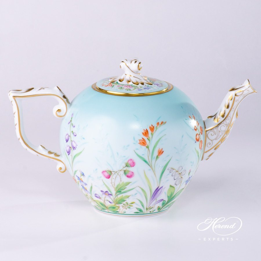 Tea Pot with Twisted Knob 20605-0-06 QS Four Seasons pattern. Herend porcelain hand painted
