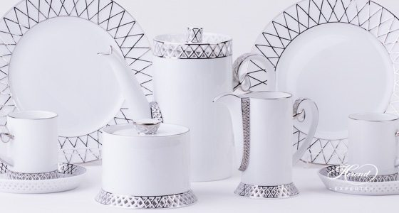 Coffee / Espresso Set for 2 Persons - Herend BABOS-PT Platinum Edge pattern. Herend fine china handpainted