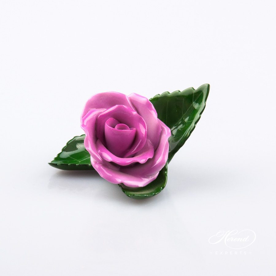 Rose on Leafand Menu Holder8983-0-00 CP1 Purple pattern. Place card holder. Herend porcelain hand painted