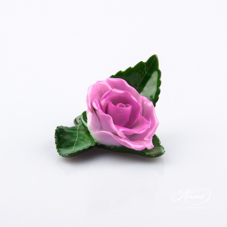 Rose on Leaf and Menu Holder 8983-0-00 CP1 Purple pattern. Place card holder. Herend porcelain hand painted
