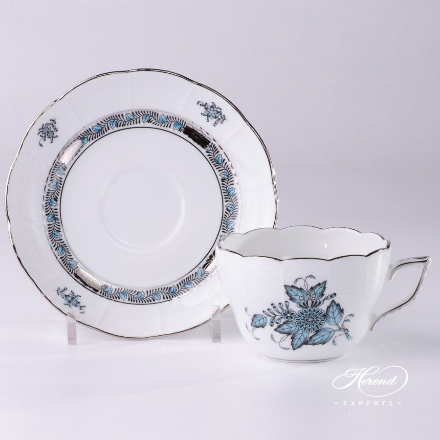 Tea Cup with Saucer 730-0-00 ATQ3-PT Apponyi Turquoise pattern - Herend porcelain hand painted.