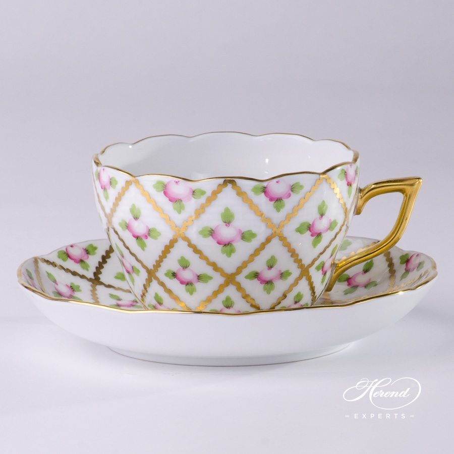 Tea Cup with Saucer 20730-0-00 SPROG Sevres Roses decor. Herend porcelain hand painted. Classic Herend pattern