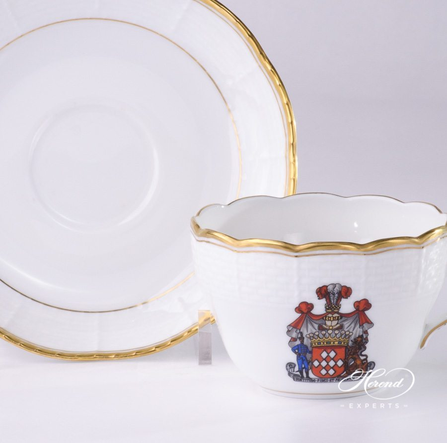 Tea / Coffee Cup w. Saucer 730-0-00 HD + CIM - Herend Hadik w. Coat of Arms. Herend fine china hand painted. Rich Golden Edge. Classical Herend design