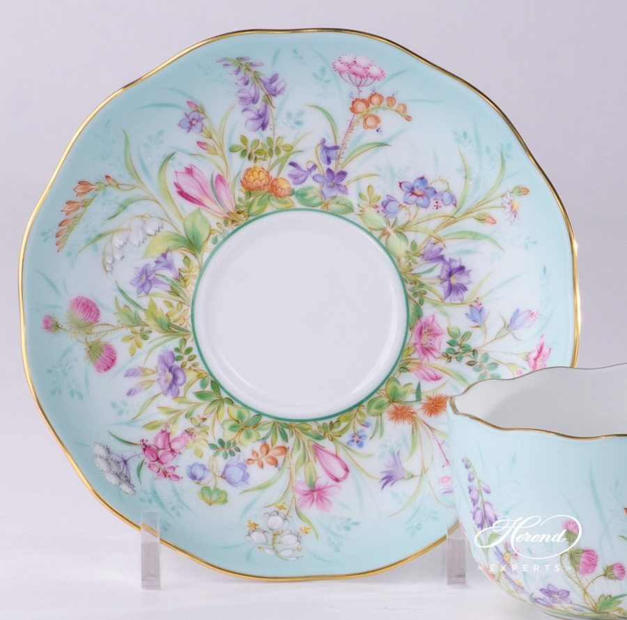 Tea Cup with Saucer 20724-0-00 QS Four Seasons pattern. Herend porcelain hand painted