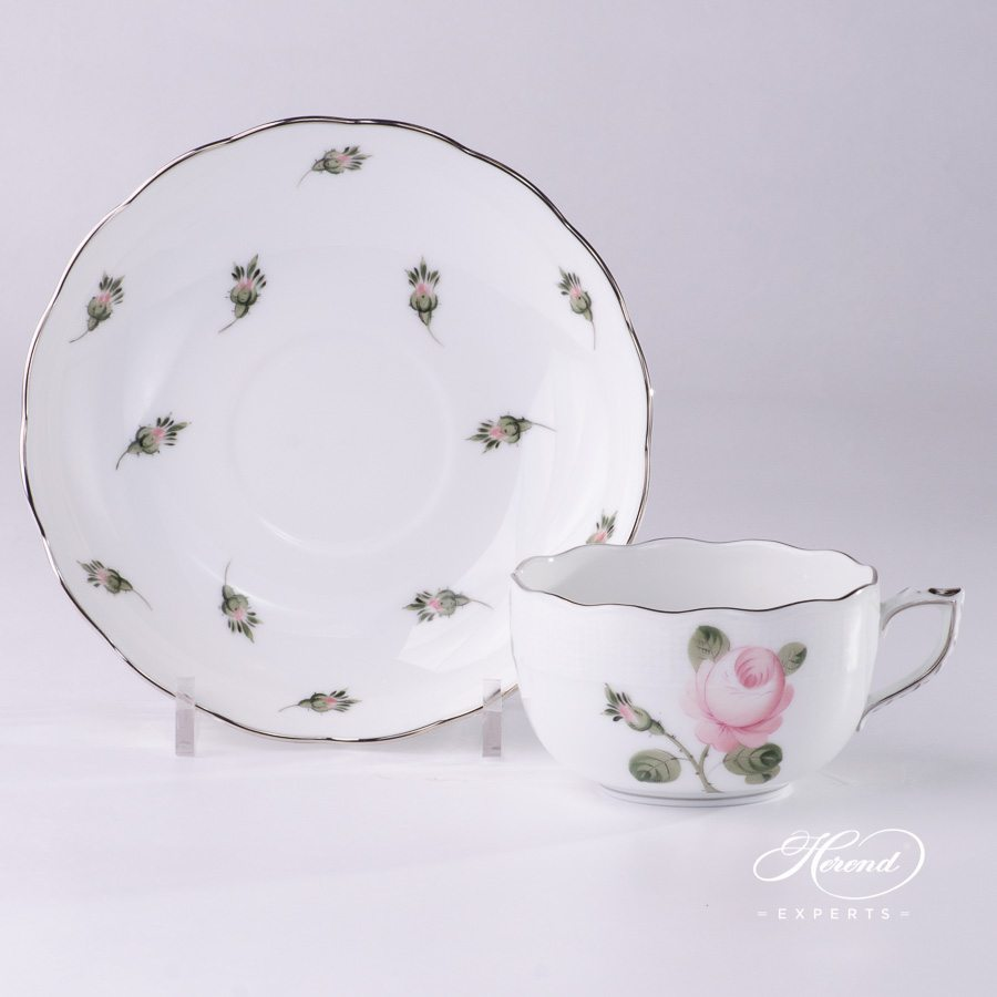 Tea Cup w. Saucer 724-0-00 VGR-PT Vienna / Viennese Rose Platinum design. Herend fine china hand painted. Classic Teacup