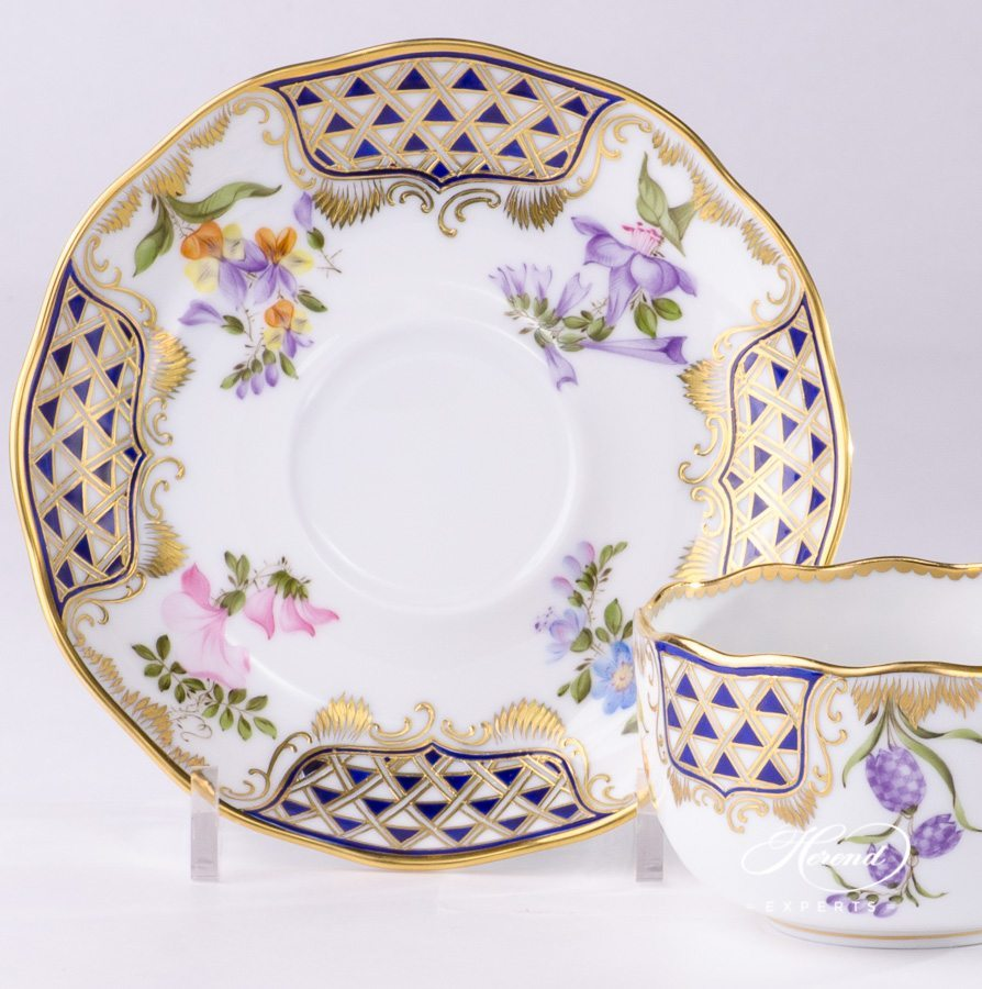 Tea Cup with Saucer 20724-0-00 MTFC Mosaic and Flowers decor. Herend porcelain tableware. Hand painted
