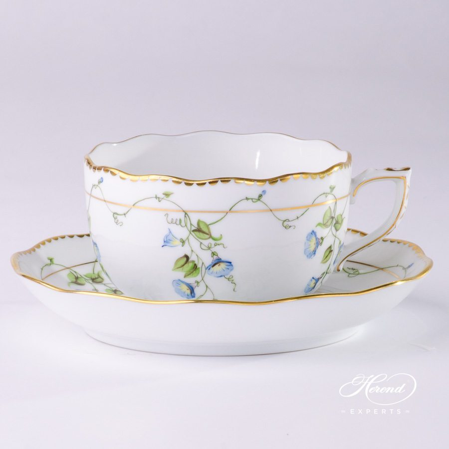 Tea Cup with Saucer 20724-0-00 NY Nyon / Morning Glory design. Herend fine china tableware. Hand painted