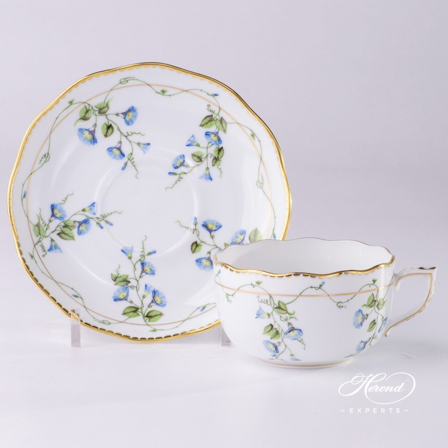 Tea Cup with Saucer 20724-0-00 NY Nyon - Morning Glory pattern - Herend porcelain hand painted.