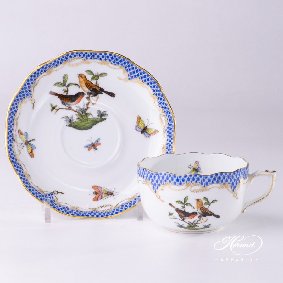 Tea Cup with Saucer 724-0-00 RO-ETB Rothschild Bird Blue Fish Scale design. Herend fine china tableware. Hand painted