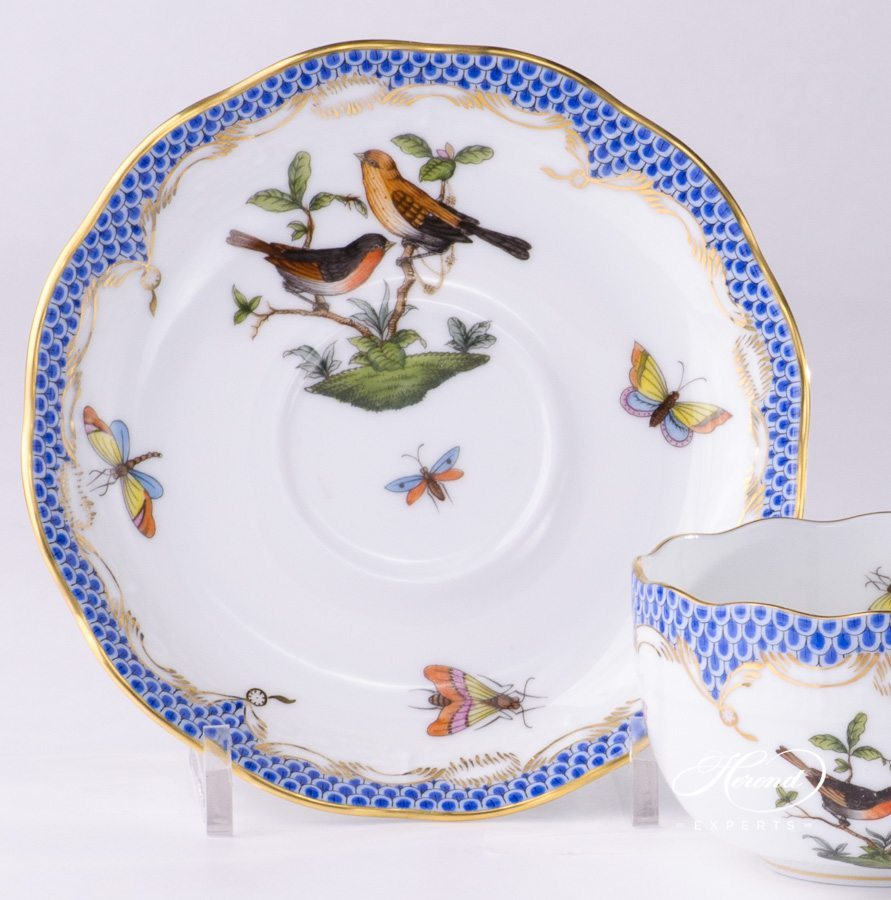 Tea Cup Rothschild Bird Blue Fish Scale Herend Experts