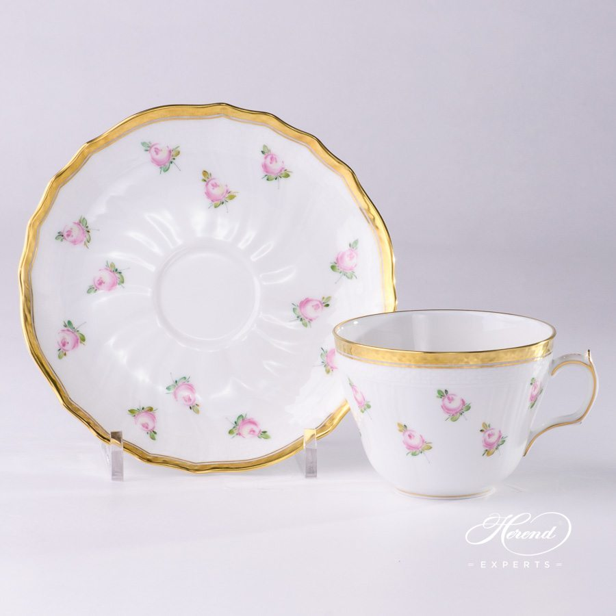Tea Cup with Saucer 1730-0-00 PTRA Small Roses pattern - Herend porcelain hand painted.
