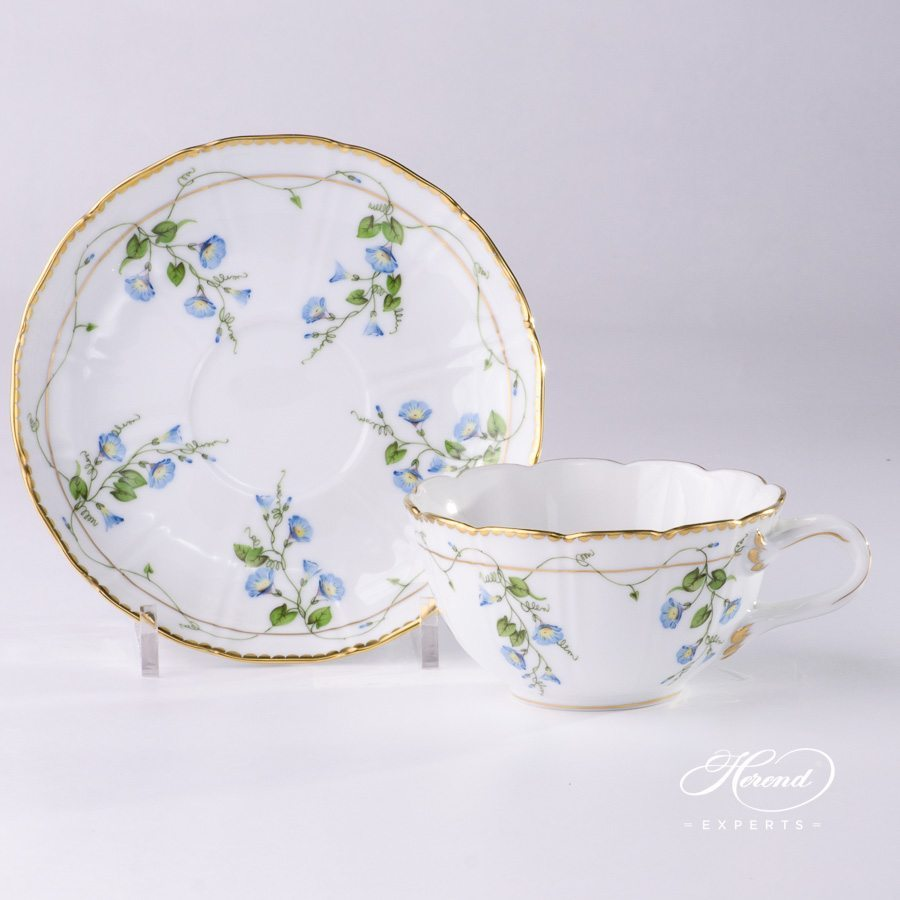 Special Tea Cup with Saucer 4247-0-00 NY Nyon / Morning Glory design. Special Shape. Double Handles. Herend fine china tableware. Hand painted