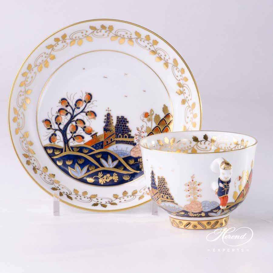 Tea Cup with Saucer 3364-0-21 MR MIramare pattern - Herend porcelain hand painted.