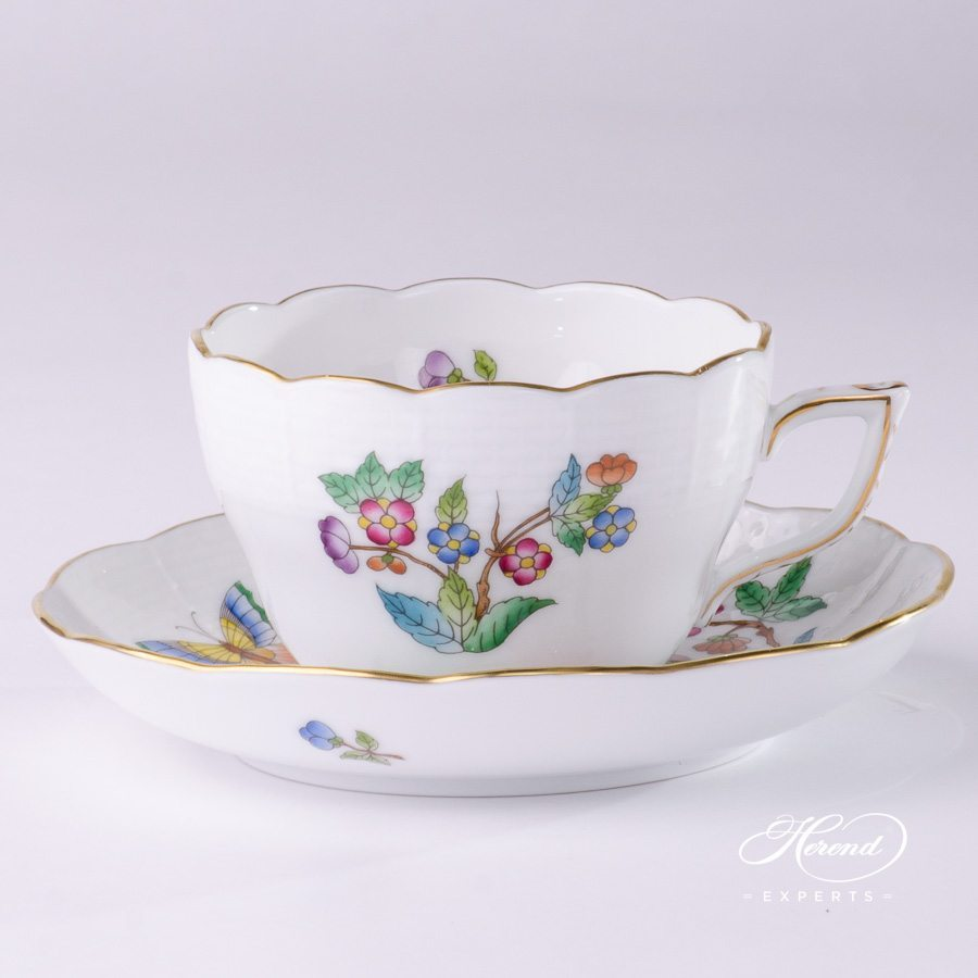 Tea Cup with Saucer 730-0-00 VA Queen Victoria pattern - Herend porcelain hand painted.