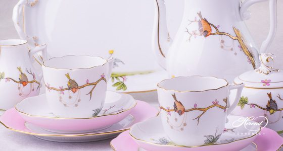 Coffee Set for 2 People w. Dessert Plate - Herend Dream Garden REJA design. Herend fine china