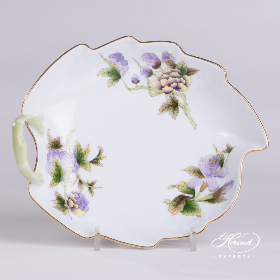 Leaf Dish with Branch Handle 203-0-00 EVICTF1 Royal Garden green pattern - Herend porcelain hand painted.