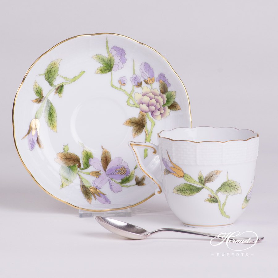 Coffee Cup 706-0-00 EVICTF1 Royal Garden Green Flower pattern - Herend porcelain hand painted.
