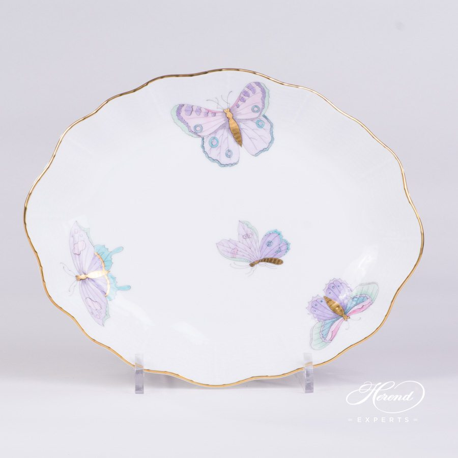 Oval Dish 212-0-00 EVICTP2 Royal Garden Turquoise pattern. Herend porcelain hand painted