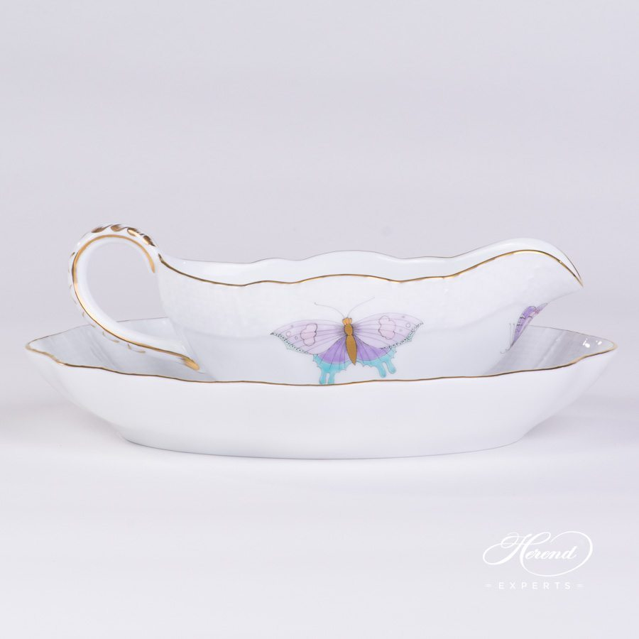Sauce Boat 218-0-00 EVICTP2 with Oval Dish 212-0-00 EVICTP2 Royal Garden Turquoise pattern. Herend porcelain hand painted