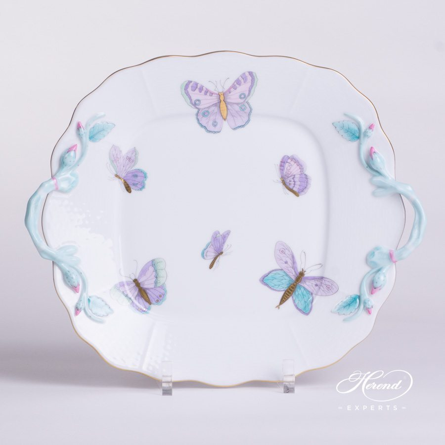Cake Plate 430-0-00 EVICTP2 Royal Garden Turquoise pattern. Herend porcelain hand painted