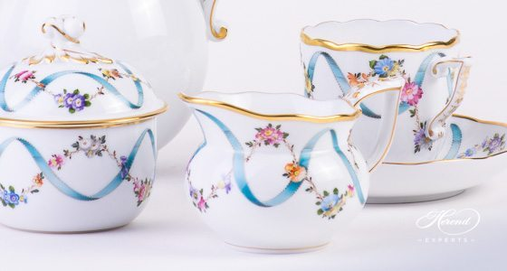 Coffee Set for 2 Persons - Herend Flower Garland w. Blue Ribbon FLR design. Herend fine china hand painted. Classic style tableware