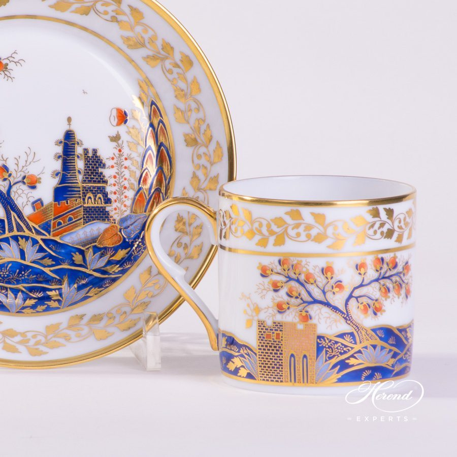 Mocha Cup with Saucer 2755-0-00 MR Miramare pattern - Herend porcelain hand painted.