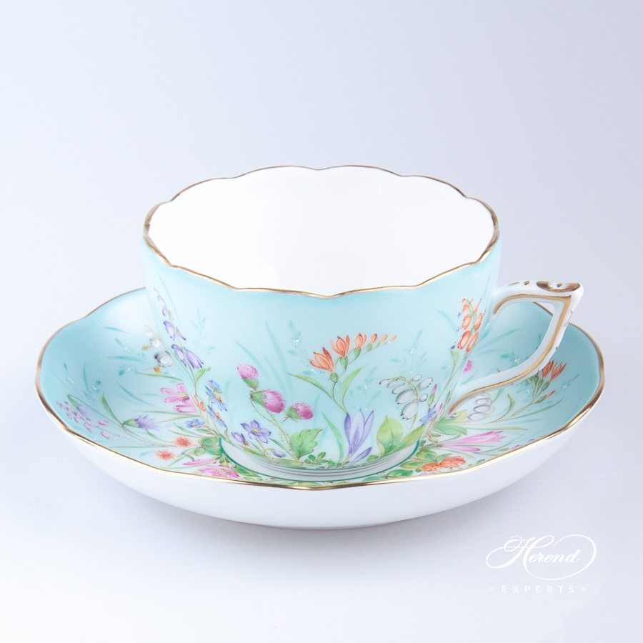 Tea Cup / Coffee Cup w. Saucer 20730-0-00 QS Four Seasons Flower pattern. Herend fine china tableware. Hand painted. Luxury item
