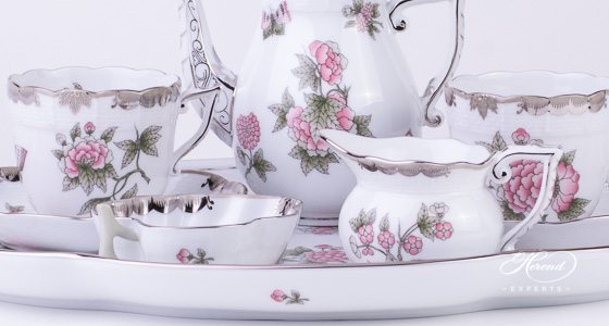 Coffee Set for 2 Persons Queen Victoria Platinum VBOG-X1-PT pattern - Herend fine china hand painted.
