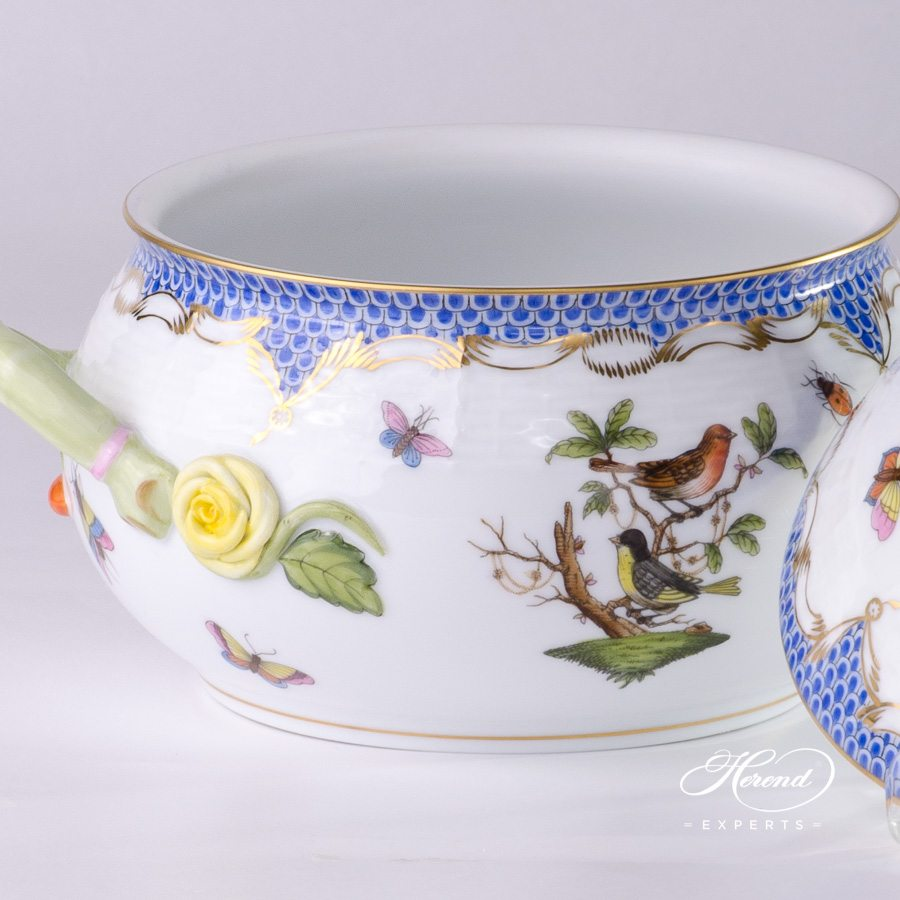 Soup Tureen with Rose Knob 25-0-09 RO-ETB Rothschild Bird Blue Fish Scale design. Herend fine china tableware. Hand painted