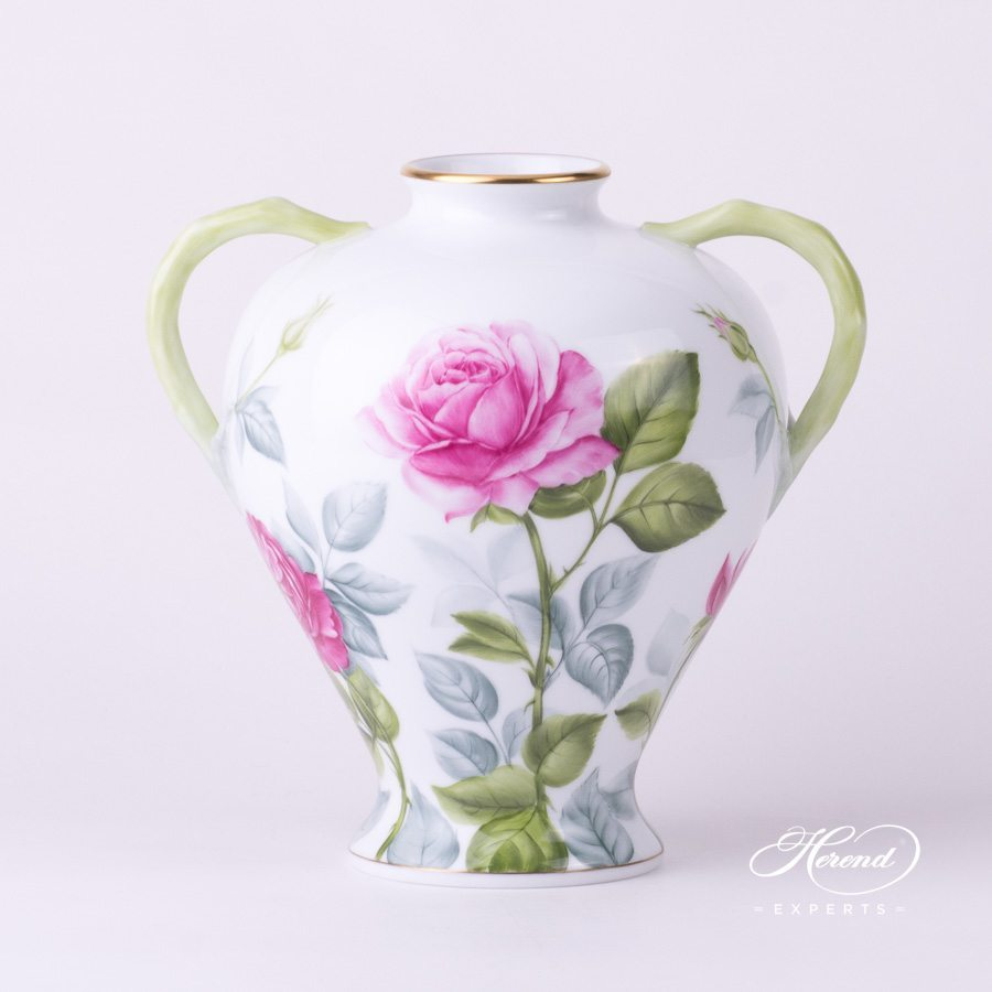 Fancy Vase Roses naturalistic pattern - Herend porcelain hand painted.