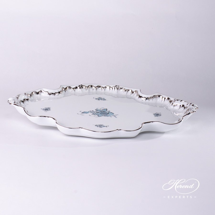 Tray Rococo 402-0-00 ATQ3-PT Apponyi Turquoise pattern - Herend porcelain hand painted.