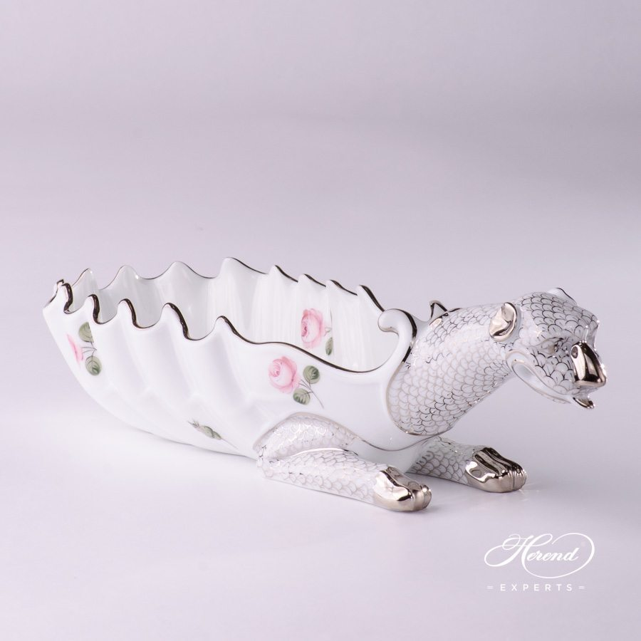 Ashtray Dragon 7760-0-00 VR-PT Vienna Rose Platinum pattern. Herend fine china tableware. Ornaments. Hand painted