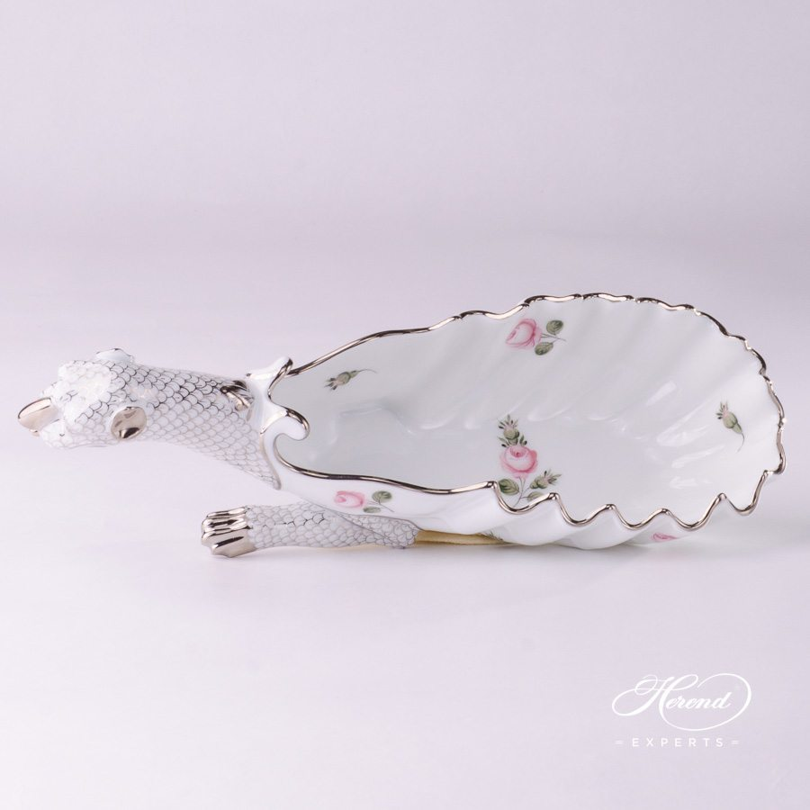 Ashtray Dragon / Fancy Dish 7760-0-00 VR-PT Vienna Rose Platinum pattern. Herend fine china