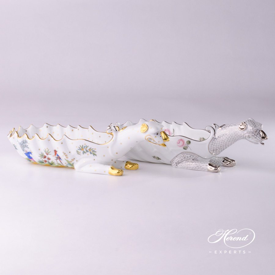 Ashtray 7760-0-00 FODO and VR-PT Vienna Rose Platinum - Herend porcelain hand painted.