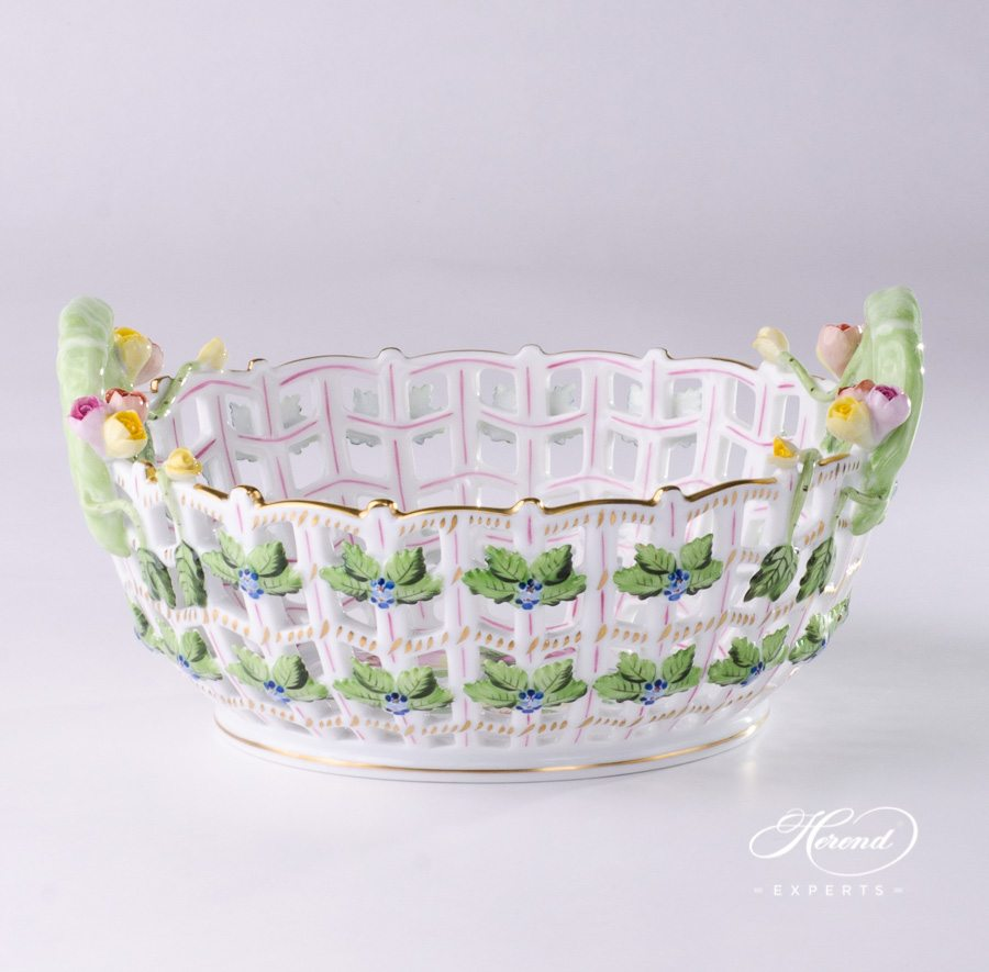 Basket Open work 7470-0-00 BT Bunch of Tulips pattern - Herend porcelain hand painted.