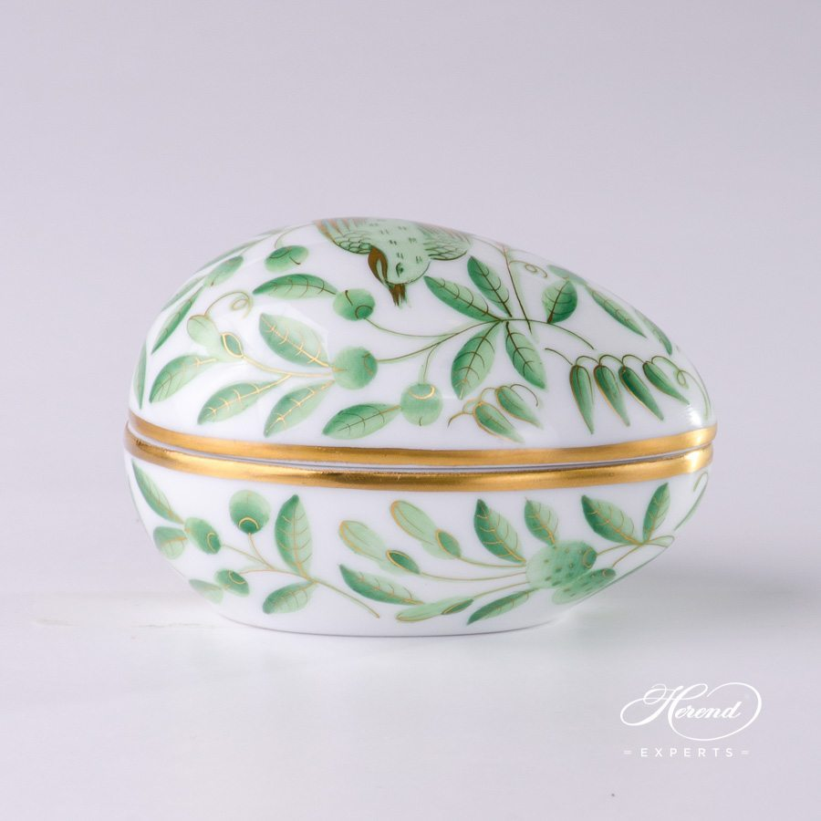 Bonbonniere Egg Shaped 6054-0-00 ZOVA Green ZOO pattern - Herend porcelain.