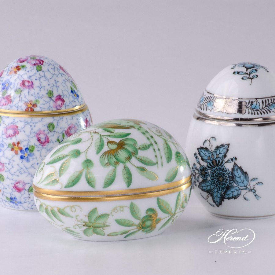 Comparison of Bonbonnieres Egg Shaped: Small Flowers (QHF5) - Green ZOO (ZOVA) - Chinese Bouquet Turquoise / Apponyi Turquoise (ATQ3-PT) decors