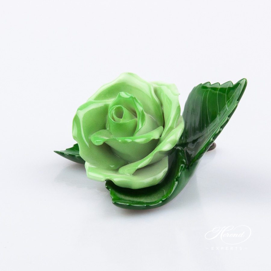 Rose on Leaf and Menu Holder 8983-0-00 CG Green pattern. Place card holder. Herend porcelain hand painted