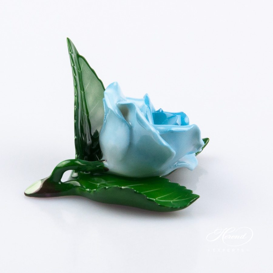 Rose on Leaf and Menu Holder 8983-0-00 CTQ1 Turquoise pattern. Place card holder. Herend porcelain hand painted