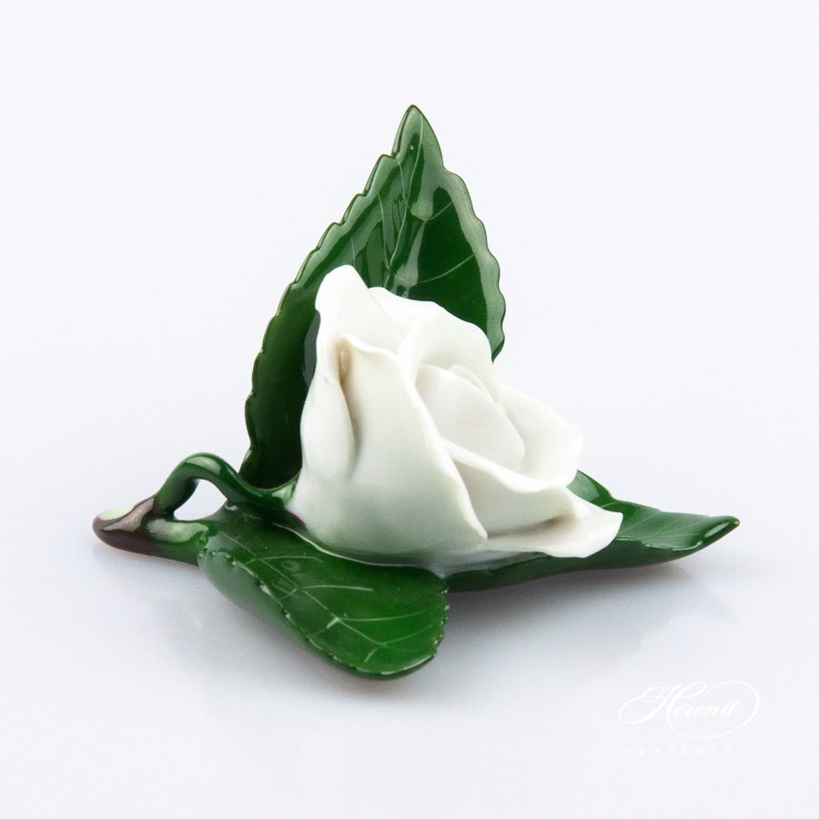 Rose on Leaf and Menu Holder 8983-0-00 CW White pattern. Place card holder. Herend porcelain hand painted