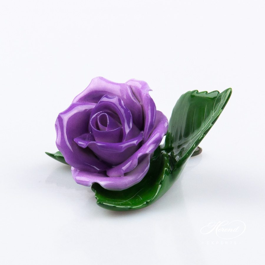 Rose on Leaf and Menu Holder 8983-0-00 CL1 Lilac pattern. Place card holder. Herend porcelain hand painted