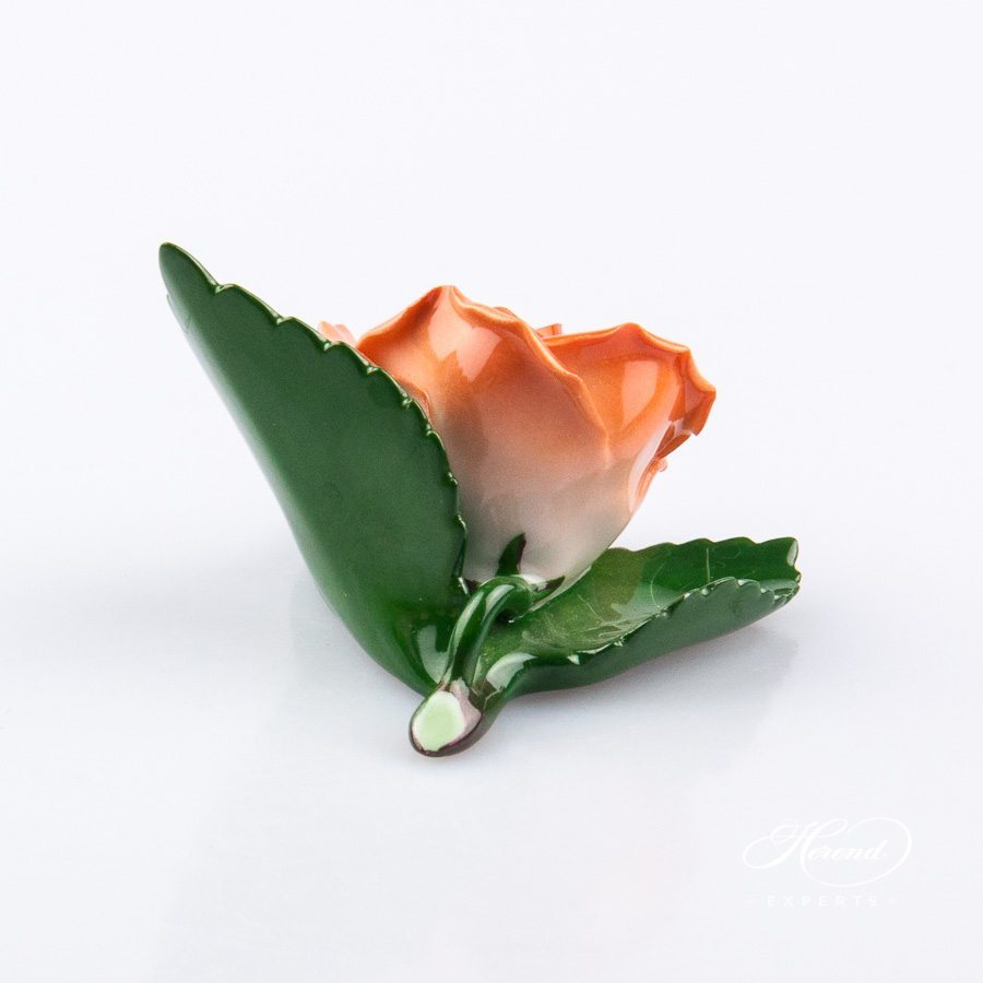 Rose on Leaf and Menu Holder 8983-0-00 CO Orange pattern. Place card holder. Herend porcelain hand painted