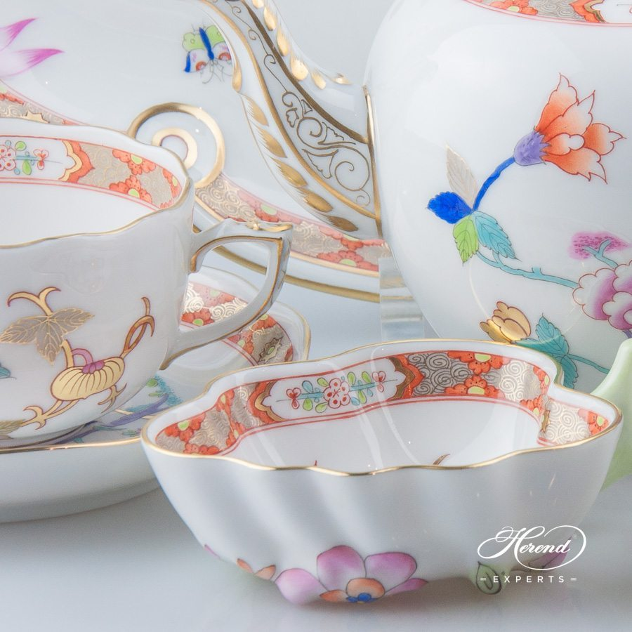 Tea Set for 2 Persons - Herend Shanghai SH design. Herend fine china tableware. Hand painted. Oriental style