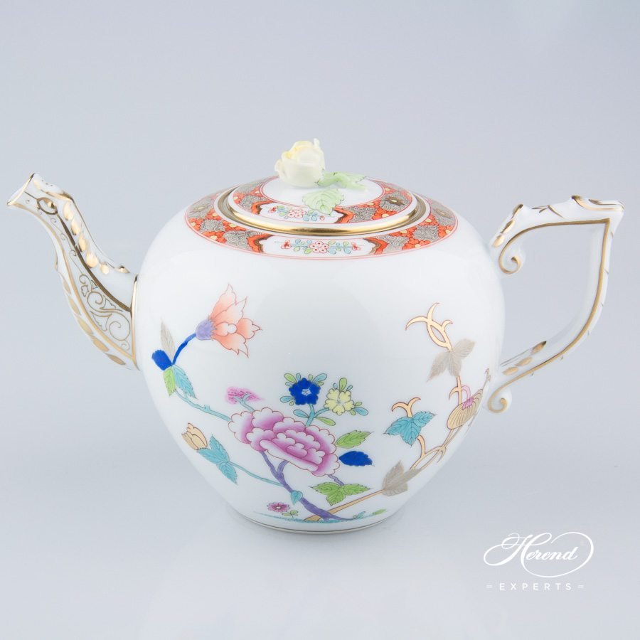 Tea Pot w. Rose Knob 20606-0-09 SH Shanghai pattern. Herend fine china hand painted. Classical Oriental design