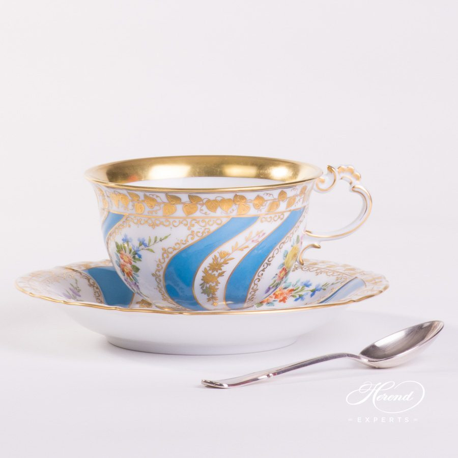 Tea Cup with Saucer 3693-0-00 Colette pattern. Herend porcelain hand painted