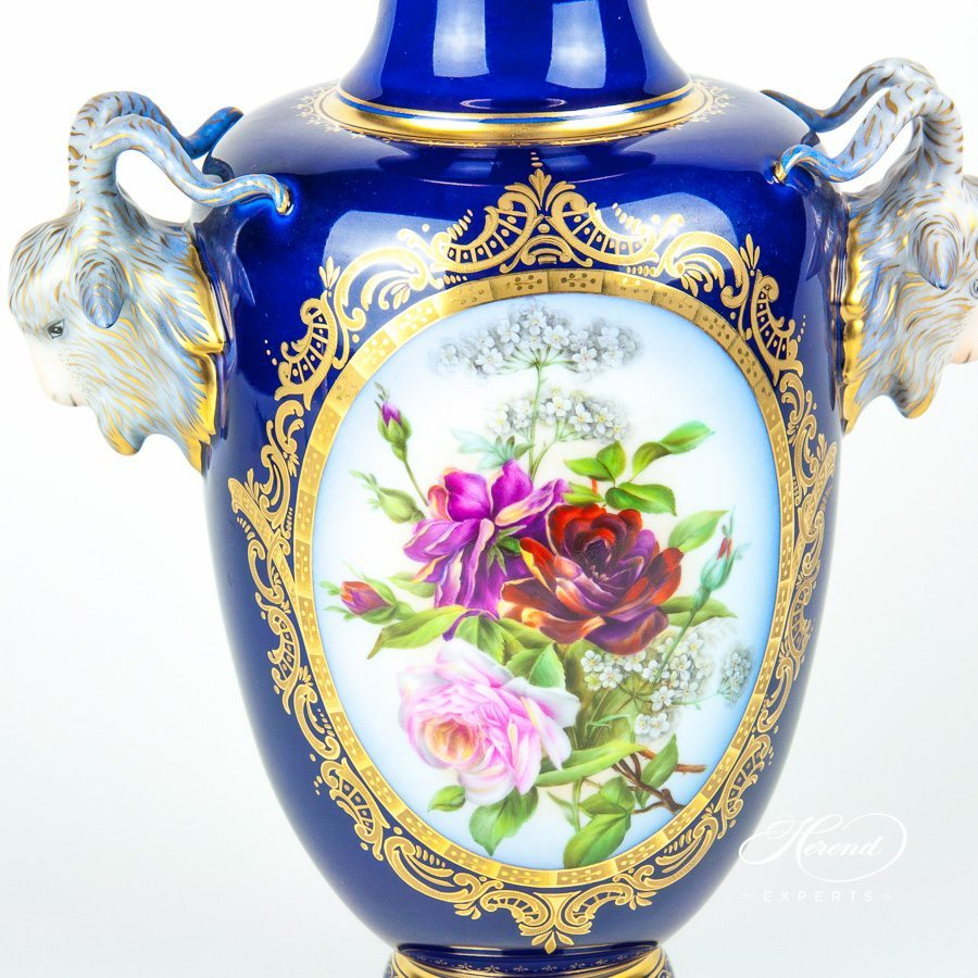 Fancy Vase with Goat Head Handles 6627-0-00 SP115 Special pattern - Herend porcelain hand painted.