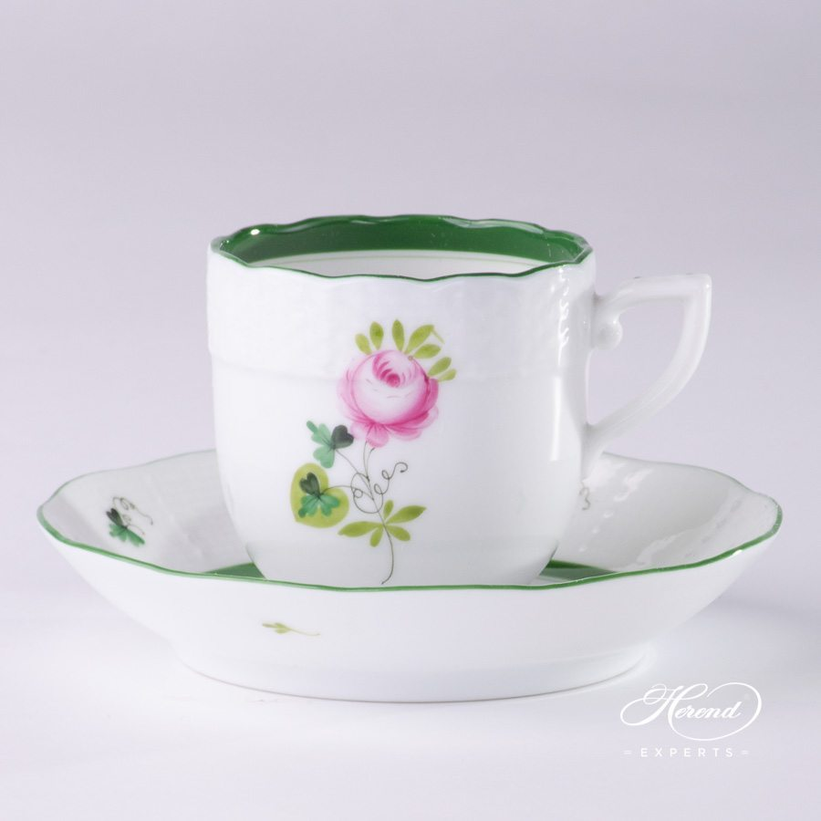 Mocha Cup or Espresso Cup with Saucer 709-0-00 VRH Vienna Rose green pattern - Herend porcelain hand painted.